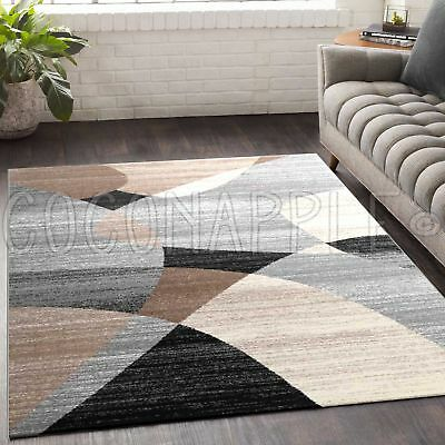 Clio Abstract Beige Black Grey Modern Floor Rug (M) 160x230cm **FREE DELIVERY**