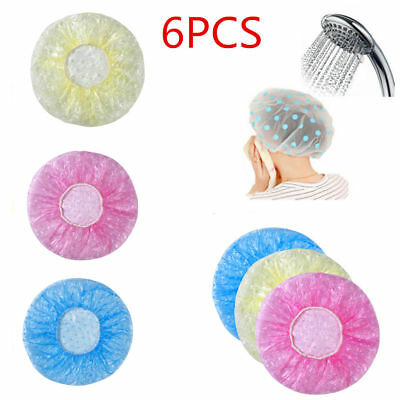 6Pcs Set Women Waterproof Elastic Plastic Dot Shower Bathing Salon Hair Cap Hat
