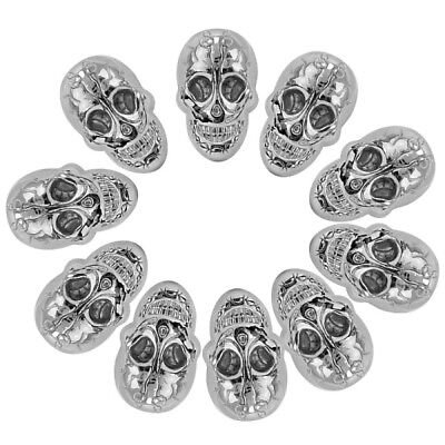 10 Pcs Silver Skull Head Rivet Spike Studs Spots DIY Punk Shoes Bag Cloth Craft