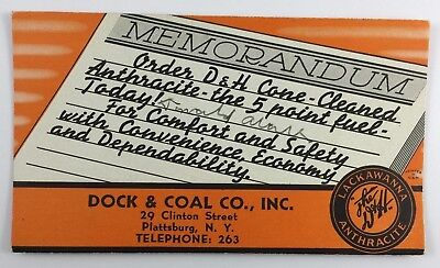 Vintage Advertising Ink Blotter Dock & Coal Co The D&H Lackawanna Anthracite NY