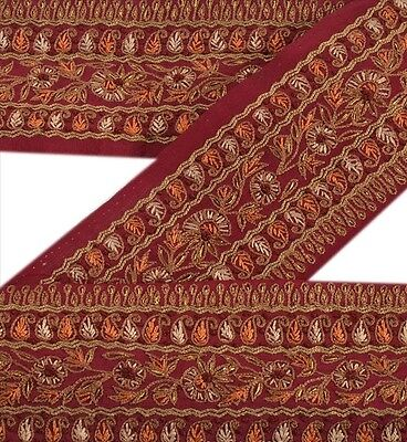 Vintage Sari Border Antique Hand Embroidered 1 YD Indian Trim Sewing Maroon Lace