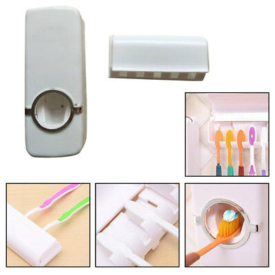Toothpaste Dispenser + 5 Toothbrush Holder Set Wall Mount Stand