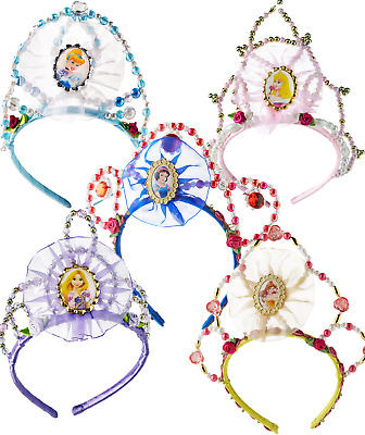 Girls Deluxe Official Disney Princess Beaded Tiara Fancy Dress Costume Accessory