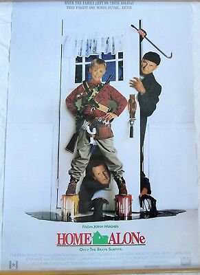 Original 1990 Home Alone Movie Poster 1 Sheet 2 Sided Rolled  Vtg