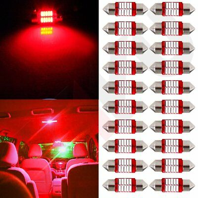 20x Car LED Light bulbs Red 31mm Festoon Interior 4014 10-SMD Dome Map Trunk 12V