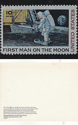 Us First Man On The Moon 10 Cent Stamp Unused Colour  Postcard Illustration