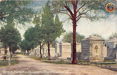 NEW ORLEANS LA~VIEW IN METAIRIE CEMETERY~NEW ORLEANS FOR N O LOGO POSTCARD 1910s