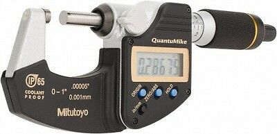 """Mitutoyo 293-185, 0 - 1"""" X .00005""""/0.001mm IP65 QuantuMike Outside Micrometer"""