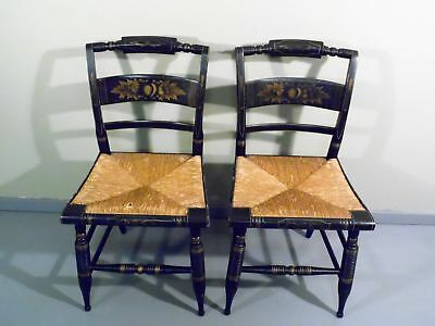 Antique Pair Turtle Back Hitchcock Stenciled Rush Seat Chairs Americana  Harvest