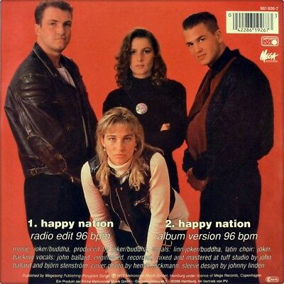 "7"" ACE OF BASE Happy Nation / Album Version METRONOME Euro-House 1993 like NEW!"