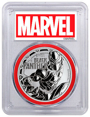 2018 Black Panther 1 oz Silver Marvel $1 PCGS MS70 Red Gasket SKU52252