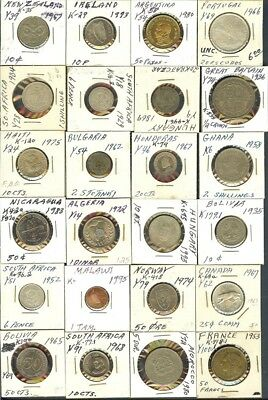 World Misc. Mixed Dates & Countries Nice 24 Coin Collection  Some Silver!