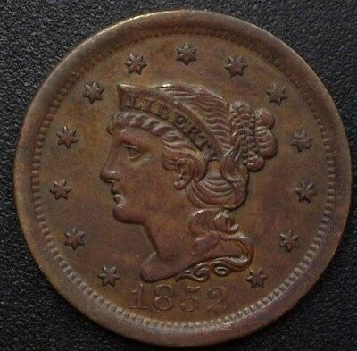 1852 Braided Hair Large Cent  Choice Uncirculated Brown