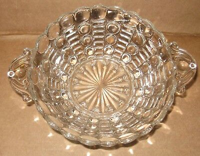 Vintage Anchor Hocking Clear Bubble Glass Handled Small Dessert Fruit Bowl