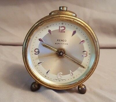 Vintage Renco Mini Table Top Alarm Clock Rensie Watch Co Germany