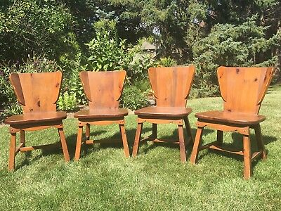 Set 1950s Habitant Chairs Bay City Michigan knotty pine vintage antique rustic