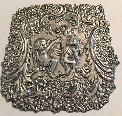 Antique Embossed English Sterling Silver Plaque Cherubs Flowers Clock Part Nr
