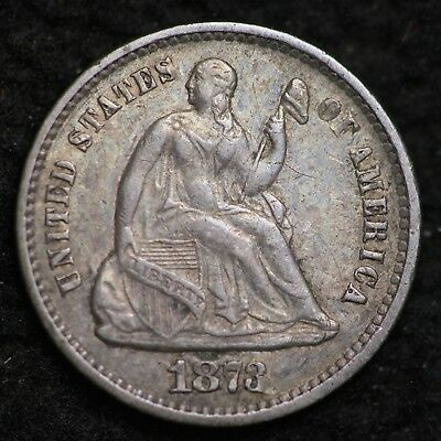 1873 Seated Liberty Half Dime CHOICE AU FREE SHIPPING E232 KHT