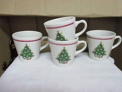 Vtg Homer Laughlin Best China Christmas Tree Coffee/Tea Cups Lot/4