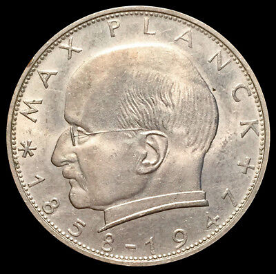 1958 F Germany 2 Mark Federal Republic Max Planck Coin Condition: Uncirculated+