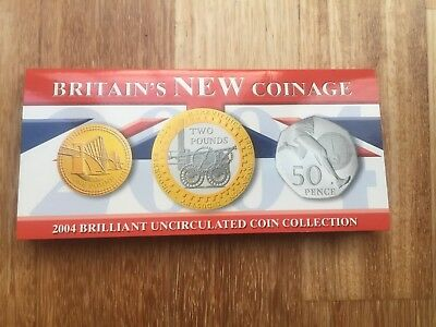 """2004 Royal Mint Brilliant Uncirculated  3 Coin Set """" Britain's New Coinage """""""