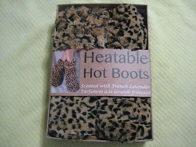 Heatable Hot Boots Slippers French Lavender Size 6-10 Leopard Microwavable