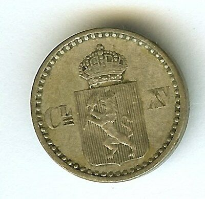 Norway 1871 2 Skilling  About Uncirculated  Km#336.2