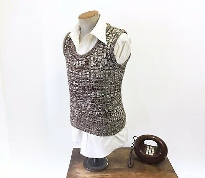 1970s MR. LEGGS Mens Knit Sweater Vest Vintage Brown & White Pullover Size SMALL