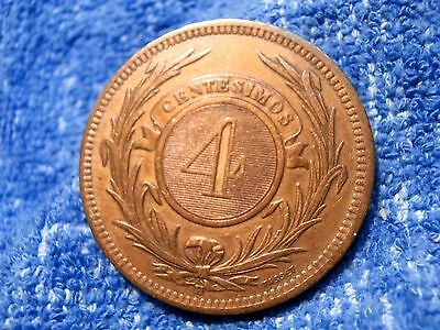Uruguay: Scarce 4 Centesimos Large Bronze Coin 1869-H Extremely Fine!!