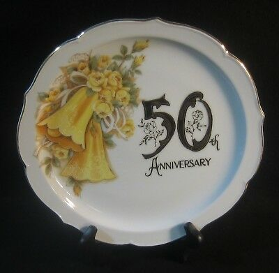 50th Fifth Wedding Anniversary Plate Golden Made in Japan