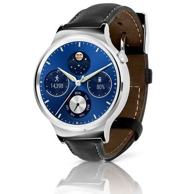 Huawei Watch Stainless Steel Silver Case w/ Black Leather Band