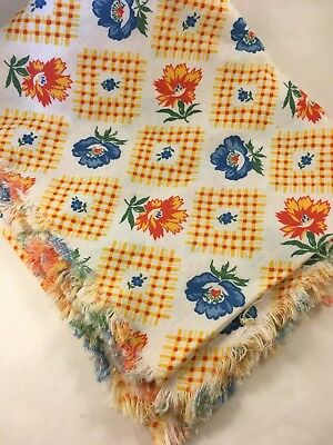 "Vintage Fabric, Feed Bag  32"" x 42"" Yellow check, red and blue florals"