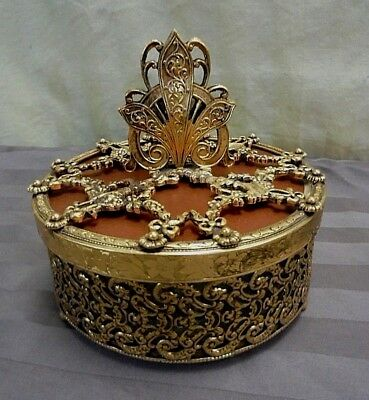 VTG Stylebuilt NY 24Kt Gold Plated Footed Filigree Ormolu Mirrored Trinket Box