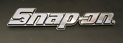 "TWO Snap On Tools Chrome Nameplate Emblem Logo 7 3/4"" Long NEW 3 Pin Genuine OEM"