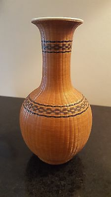 Vintage Porcelain Chinese Vase w Woven Bamboo Covering - Intricate Craftsmanship