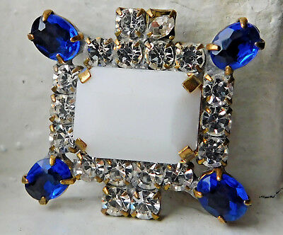 Gorgeous Vintage Style Czech Handmade Rhinestone Button~Royal Blue~Milk Glass