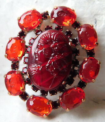 Vintage Style Czech Rhinestone Button~Cameo~Red~Red Ruby~Gold Setting