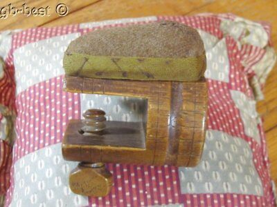 Antique c 1850-1890 Sewing Pin Cushion CLAMP Wood EXHIBITED Collection