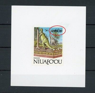 NIUAFOOU CANCELLED !! TRIAL TEST STAMP DINOSAURS PALEONTOLOGY FOSSIL RARE! m1034