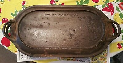 Antique Cast Iron Sportsman Deep Double Griddle, Dutch Oven, w/ Trivets 3093, US