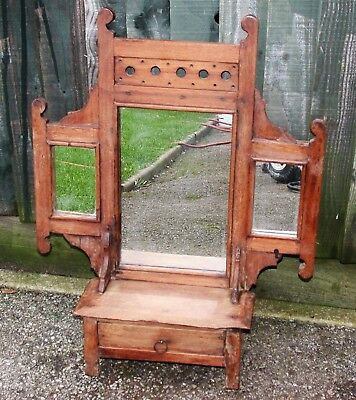 Small Antique Pretty Mahogany Table Top Mirror Unit Ideal Shabby Chic