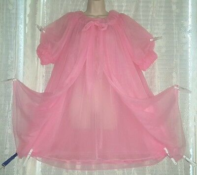 Vtg Pink HEDI 4 Layer Sheer Chiffon Peignoir Robe Nightgown Gown Negligee LARGE