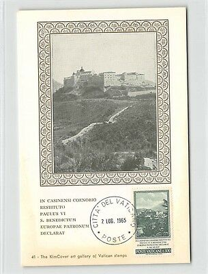 VATICAN MK 1965 MONTE CASSINO CASSINI ABBEY CARTE MAXIMUM CARD MC CM d9695