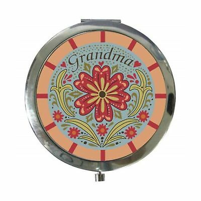 """WL SS-WL-17665 3"""" Blue, Red, & Pink """"Grandma"""" Compact with Flowers"""
