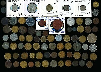 78 OLD GERMAN COINS & TOKENS (1600's to 1900's) MUST SEE > NO RESERVE