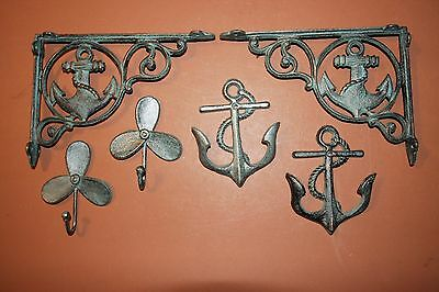 (6) Sailor Gift Antique-look Maritime Wall Decor, Shelf Brackets, Wall Hooks