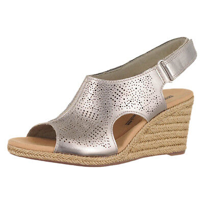 018ff72562c Clarks Lafley Rosen Pewter Metallic Leather Womens Wedge Sandals Size 11M