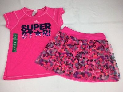ADIDAS Youth Girl's Top & Skort's Set Outfit  Pink MULTI 6X NWT!