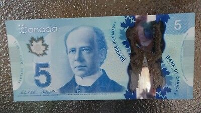 Canadian $5 Dollar Bank Note Polymer Bill HCP9906489 Circulated 2013 Canada