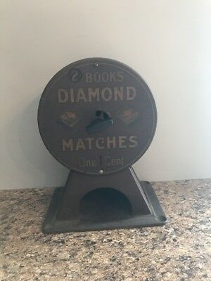 Vintage Coin Operated Diamond Matches Vending Machine Penny Operated Rare